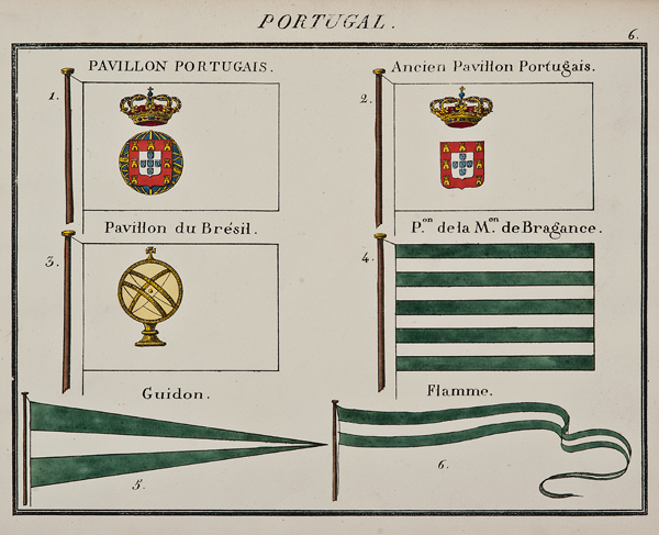 """C. Motte, French, Portugal, Marine Standard 6, c. 1820,hand colored lithograph,9 1/2 x 12"""""""