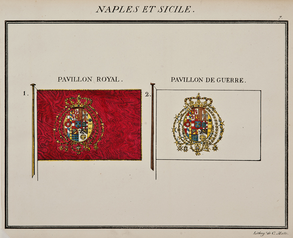 "C. Motte, French, Naples et Sicile, Marine Standard 7, c. 1820,hand colored lithograph,9 1/2 x 12"""