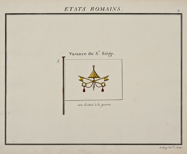 C. Motte, French,  Etats Romains, Marine Standard 9,  c. 1820, hand colored lithograph, 9 1/2 x 12""