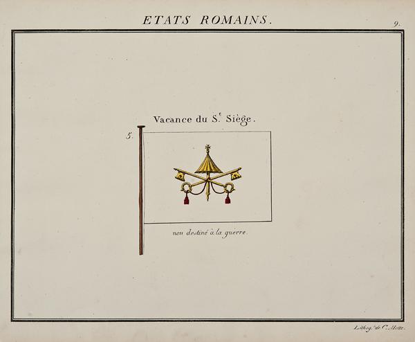 "C. Motte, French, Etats Romains, Marine Standard 9, c. 1820,hand colored lithograph,9 1/2 x 12"""