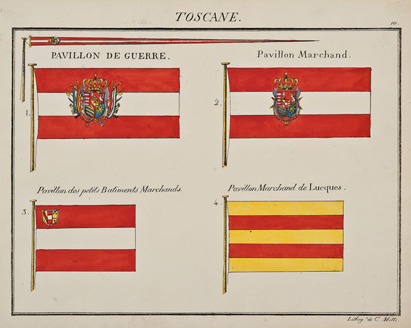 """C. Motte, French, Toscane, Marine Standard 10, c. 1820,hand colored lithograph,9 1/2 x 12"""""""