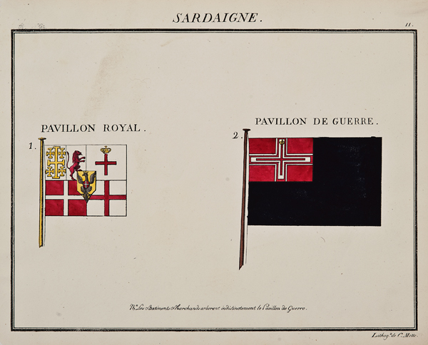 """C. Motte, French, Sardaigne, Marine Standard 11, c. 1820,hand colored lithograph,9 1/2 x 12"""""""