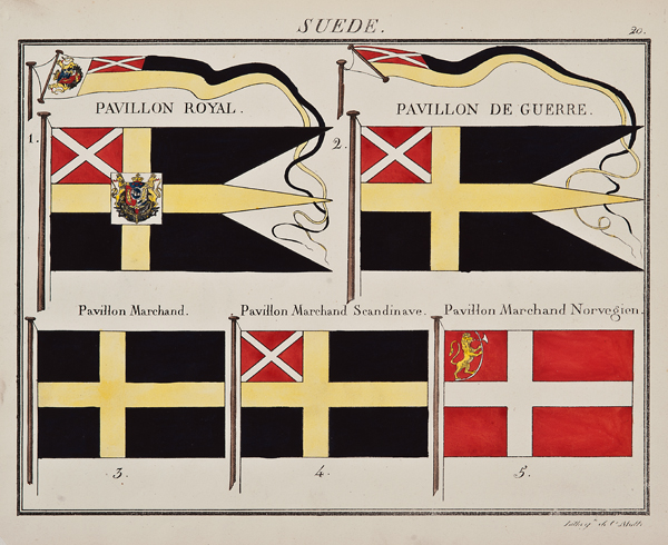 """C. Motte, French, Suede, Marine Standard 20, c. 1820,hand colored lithograph,9 1/2 x 12"""""""
