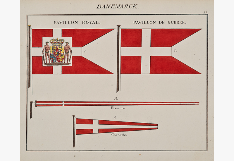 """C. Motte, French, Danemarck, Marine Standard 21, c. 1820,hand colored lithograph,9 1/2 x 12"""""""