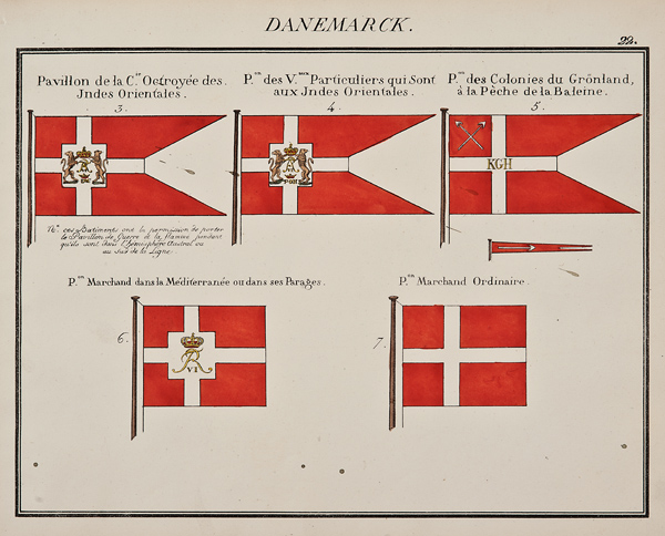 """C. Motte, French, Danemarck, Marine Standard 22, c. 1820,hand colored lithograph,9 1/2 x 12"""""""