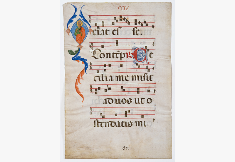 Illuminated Manuscript Sheets:  Illuminated Manuscript,  17th century