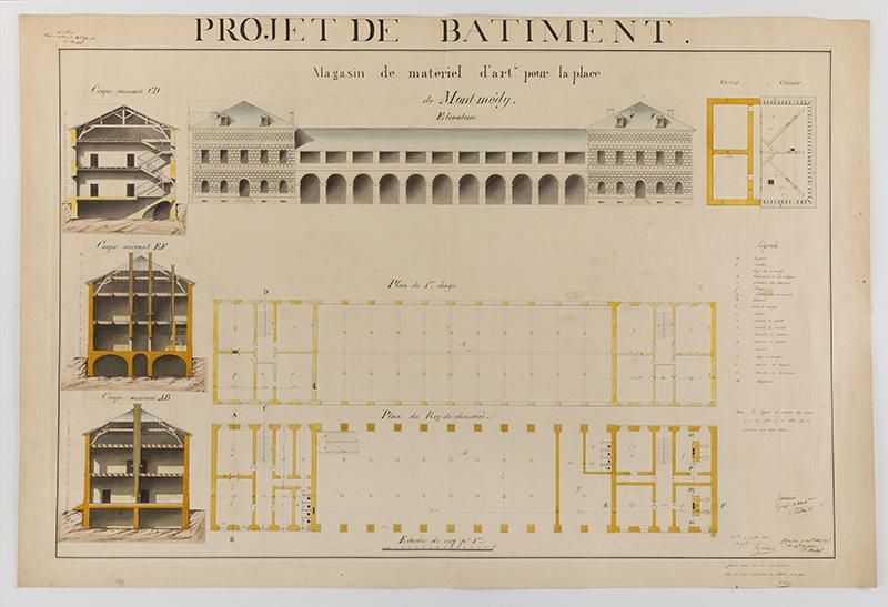 Architecture: H. Brou,  Poject de Batiment: Magasin de matèriel d'art pour la place de Mont-Mèdy, Studies for a Permanent Fortification, Metz, France,  1838