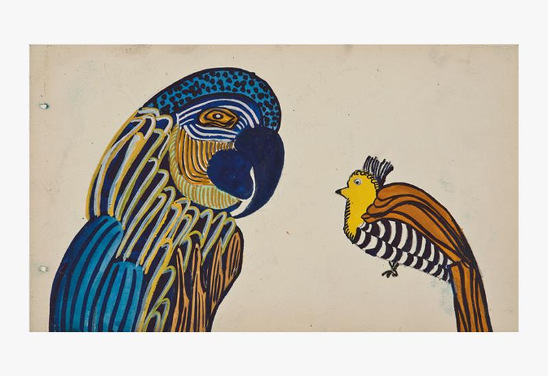 Decorative Arts Designs: Martine Le Cours Pour Maison Paul Poiret (1879-1944), France,  Design Project: Parrot,  c. 1910