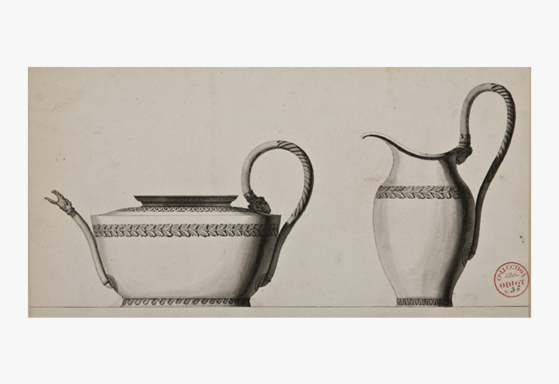 Decorative Arts Designs: Jean-Guillaume Moitte, French, 1945-1810,  Design for a silver teapot and jug