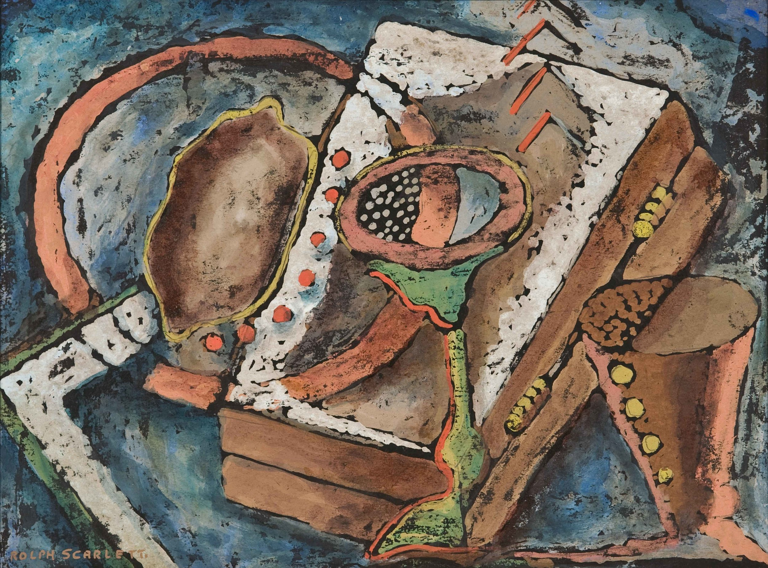"Rolph Scarlet, Modern Composition #3 (RS159) , c. 1914, oil monotype, 15 5/8 x 19 1/4"" framed"
