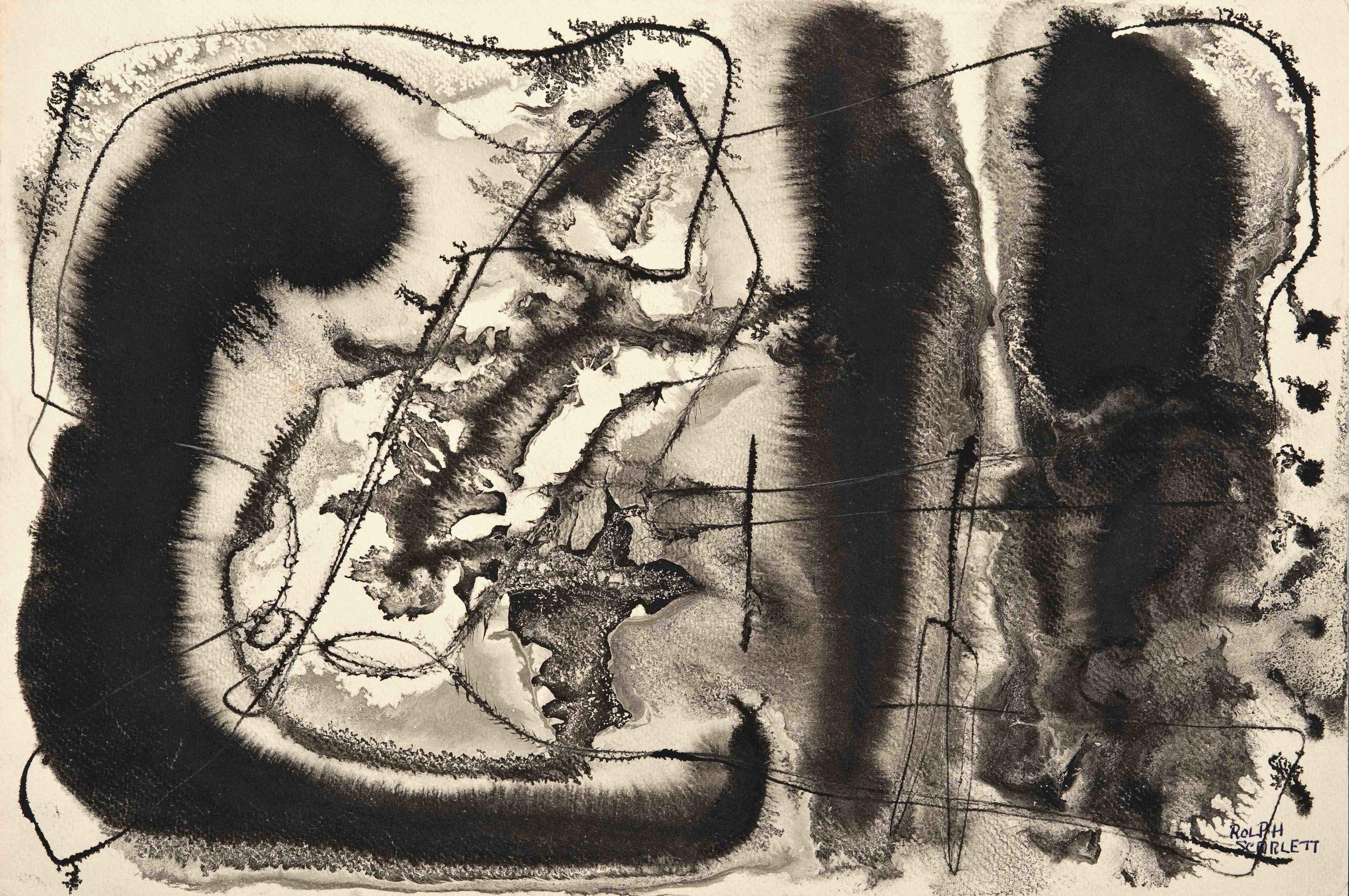 "Rolph Scarlett,  (RS177),  c. 1949, ink on paper, 22 1/2 x 28"" framed"