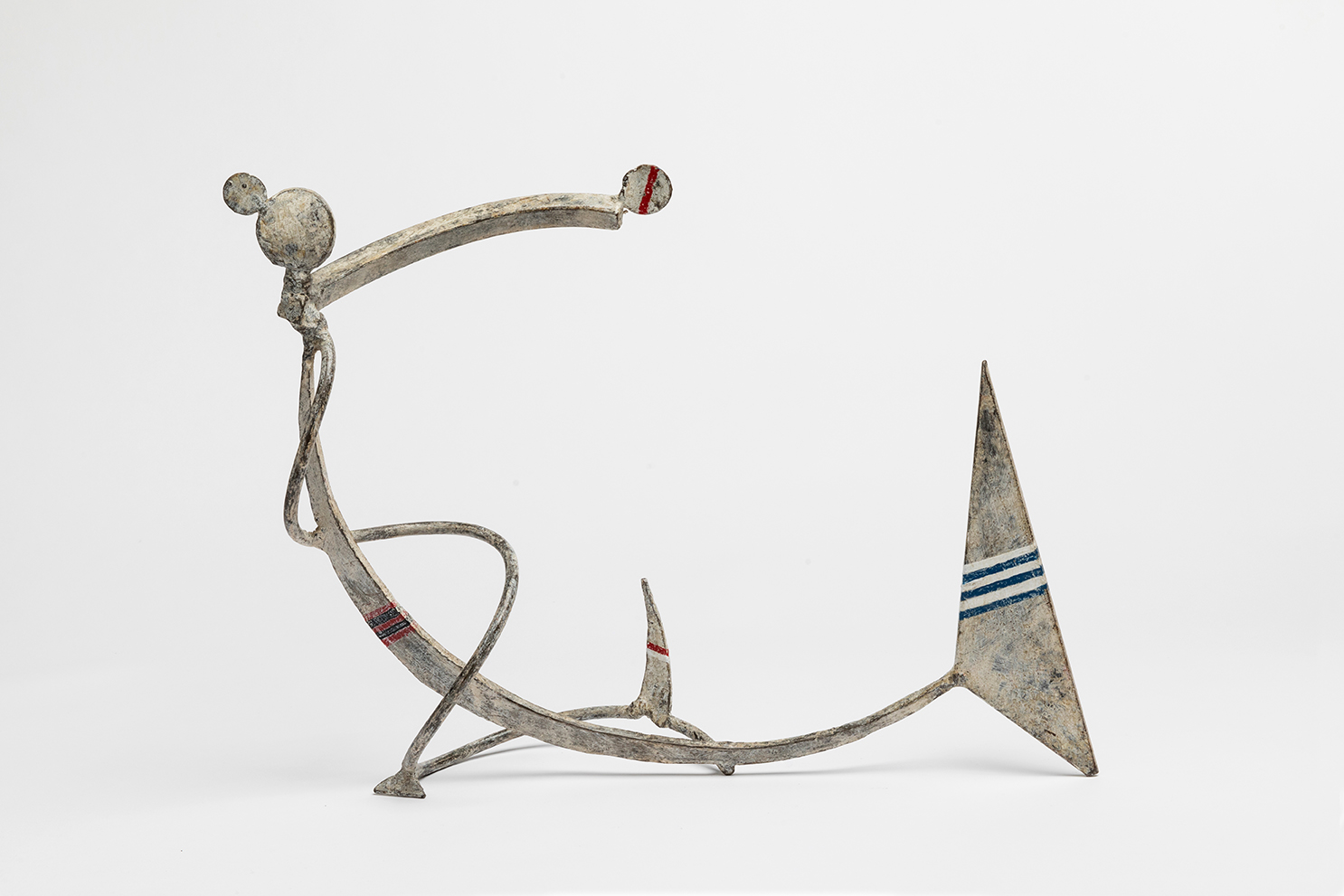 Lee Tribe,  Bather 13. Sails C Catch,  2016, steel, formed, welded, paint and wax, 12 x 15 x 5 ½""