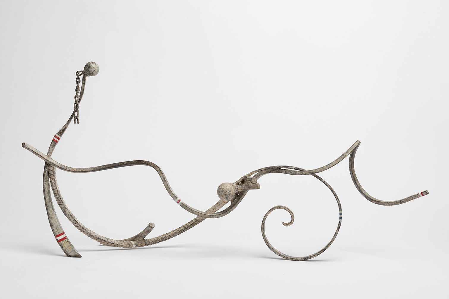Lee Tribe,  Bather 17. May Mirth Marie-Thérèse,  2016, steel, formed, welded, paint and wax, 15 x 30 ½ x 8""
