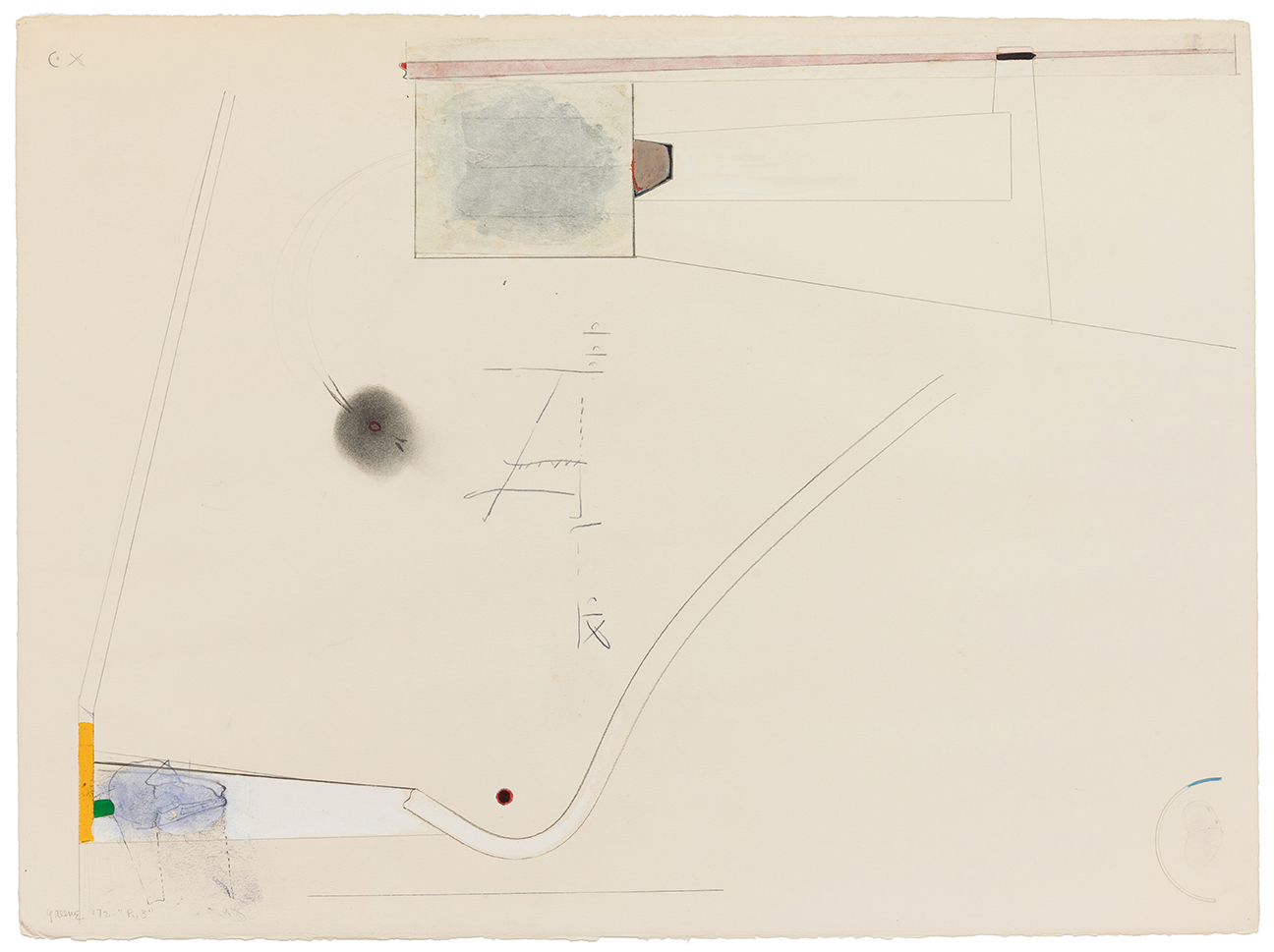 Stephen Greene,  R. 3  ,  1972, mixed media on paper, 22 1/4 x 30""