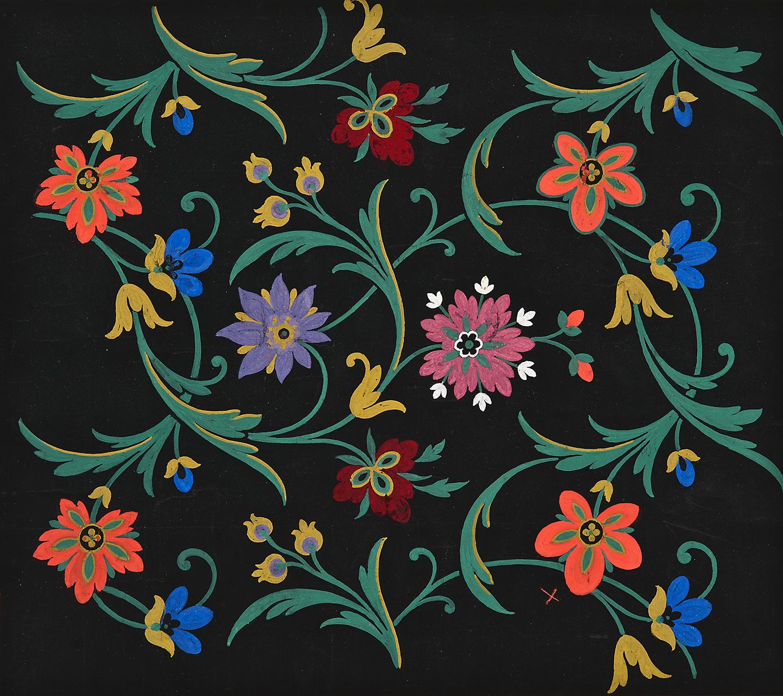 """Ecole Lyonnaise, 19th c., Floral Textile Design, gouache and ink,14 7/8 x 13 1/4"""""""