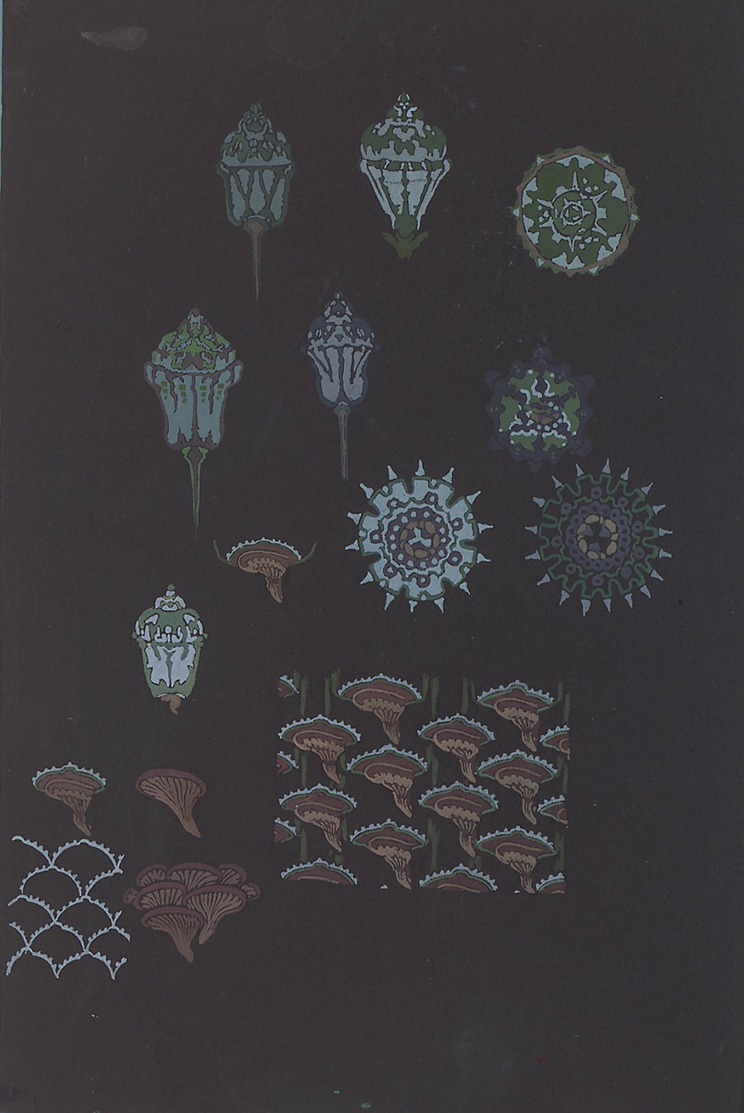 """Anne-Marie Fontaine, French, d. 1940, Design for Sèvres Porcelain, c. 1930, gouache, 21 x 14 1/2"""""""