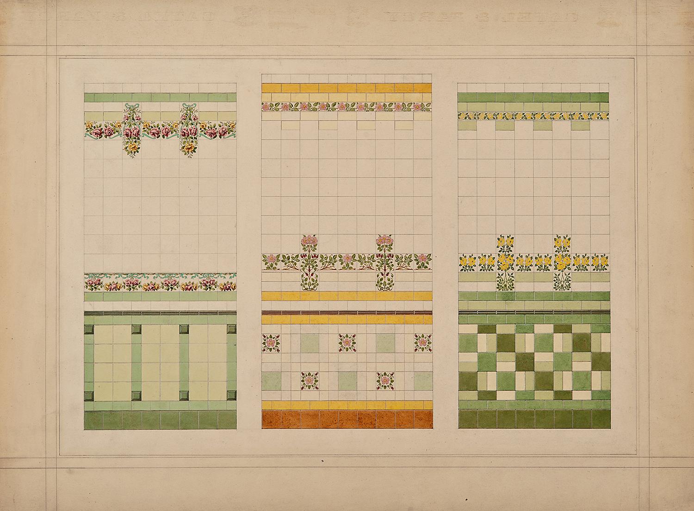 """Par l'atelier de Sarreguemines à Digoin, Tiles: Trois projets de panneaux muraux en céramique, c. 1900-1910, ink, watercolor and gouache, 16 x 21 5/8"""""""