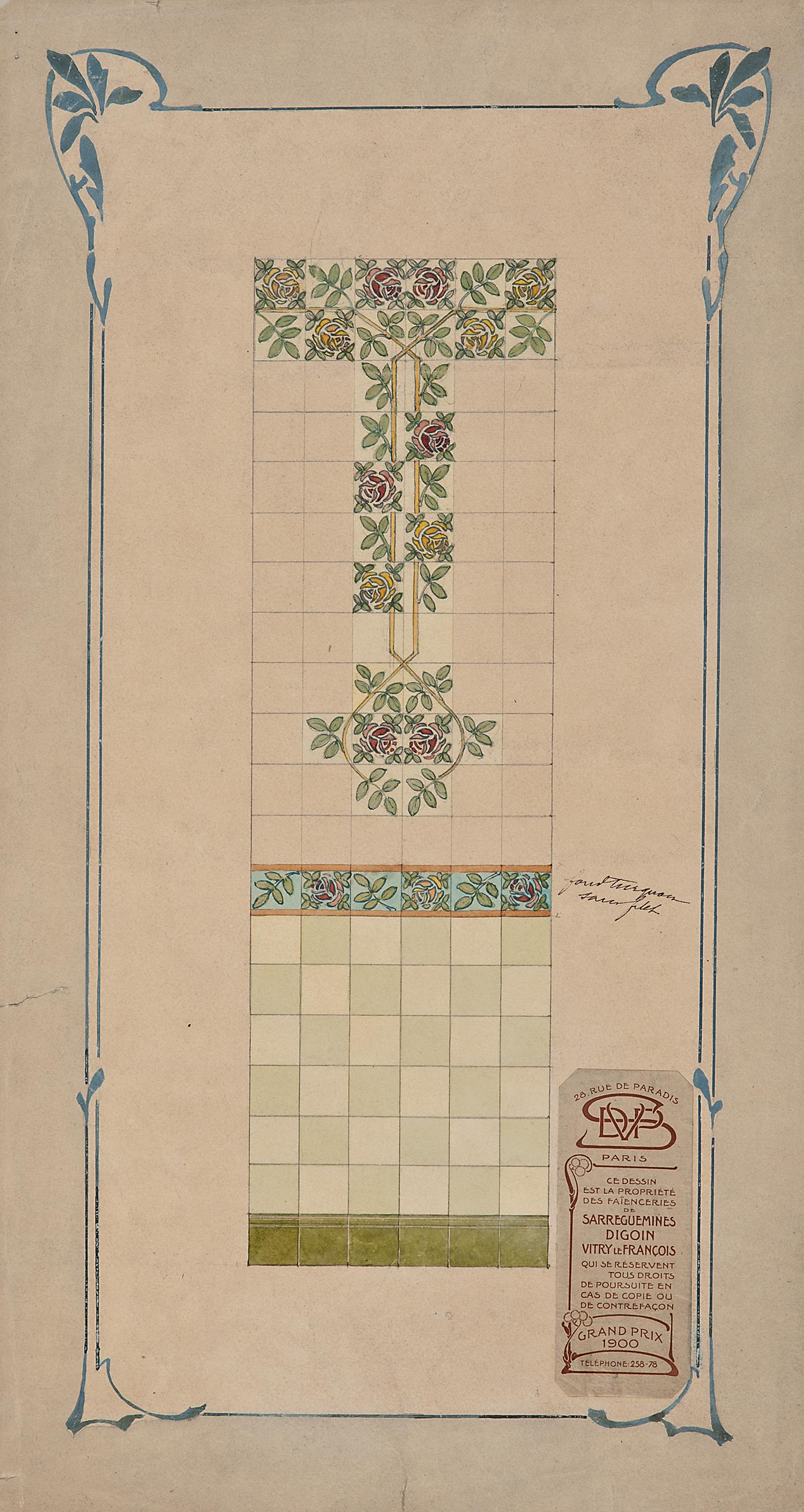 """Par l'atelier de Sarreguemines à Digoin, Tiles: Un projet de panneau mural en céramique, c. 1900, ink, watercolor and gouache, 18 x 9 3/4"""""""