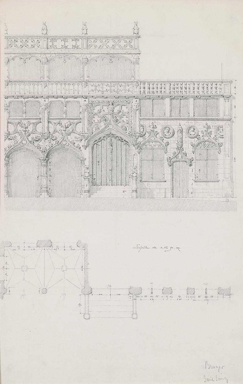 "August Gagey, Façade: Bruges Saint Sang, Bruges, Belgium ,pencil and ink on paper,25 1/8 x 18"" matted"