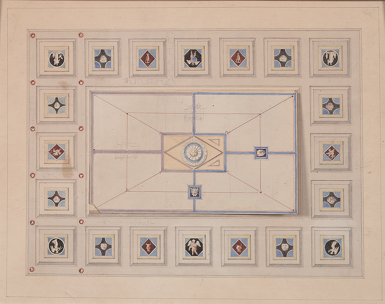 """French, late 19th century, Coffered Ceiling Design, pencil, ink, bistre and watercolor on paper,15 1/2 x 18 1/4"""" matted"""
