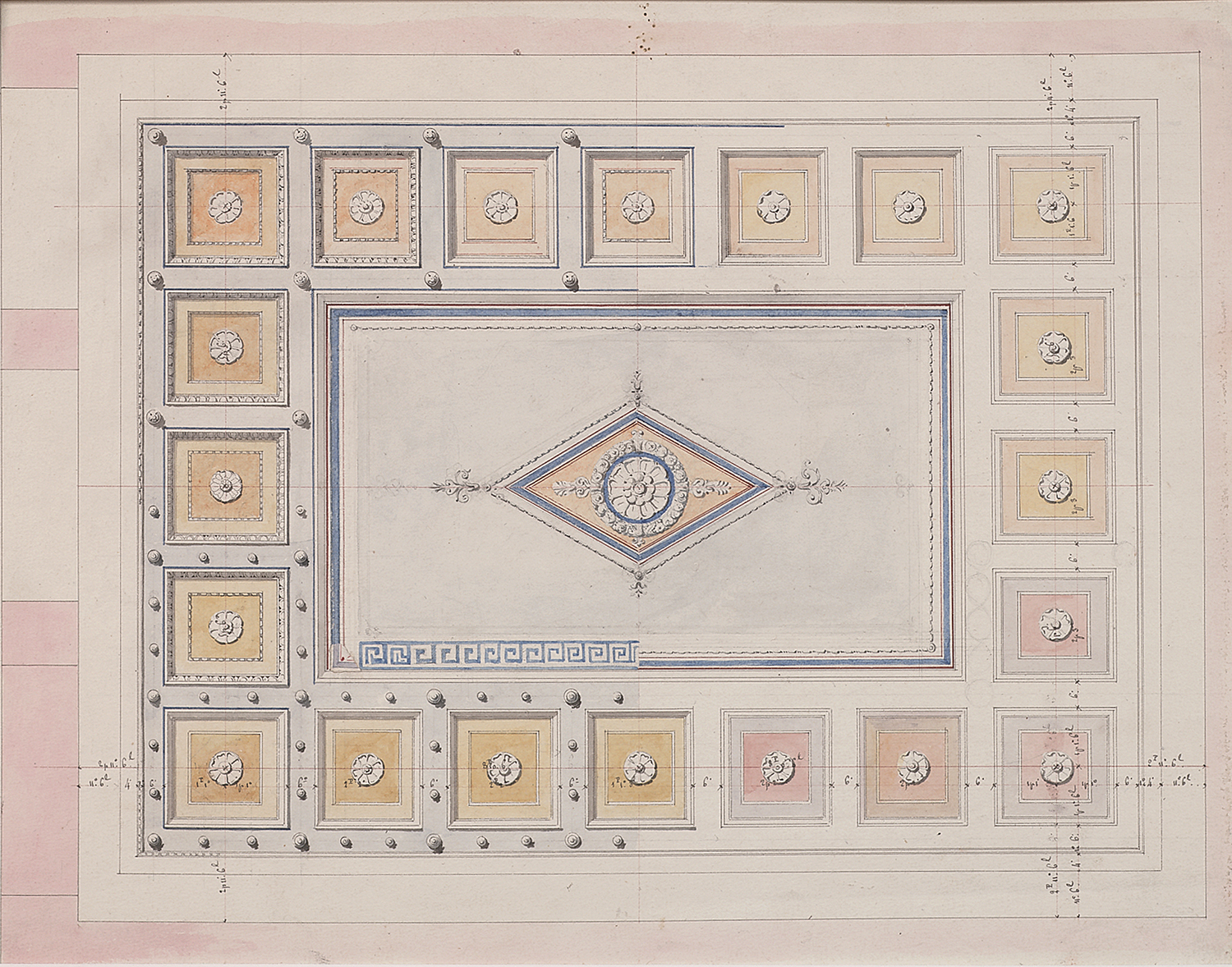 """French, late 19th century, Coffered Ceiling Design, pencil, ink, bistre and watercolor on paper,13 1/4 x 10 3/4"""""""