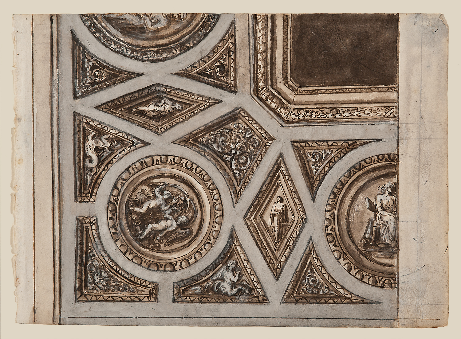 """Italian School, c. 1800, Architectural Detail 1440, ink, lavis (wash) and gouache on paper,14 x 15 1/2"""" framed"""