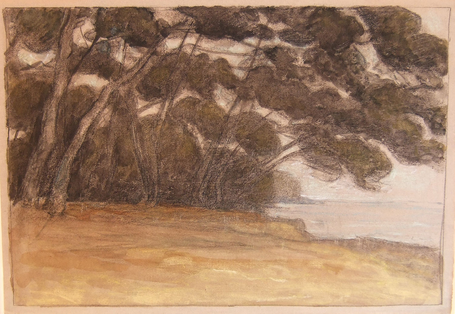 Henri Marchal, French, 1878-1949,  Trees by the Shore , c. 1917, monotype, 21 1/2 x 25 1/2""