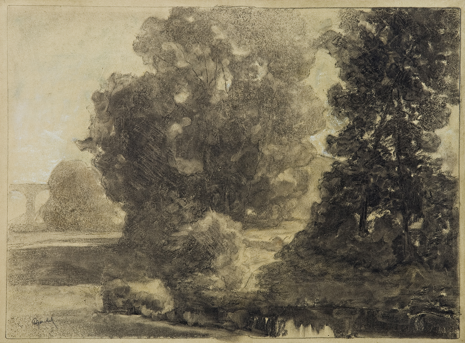 Henri Marchal, French, 1878-1949,  Trees with Bridge,   c.  1917, monotype with charcoal, 15 x 20""