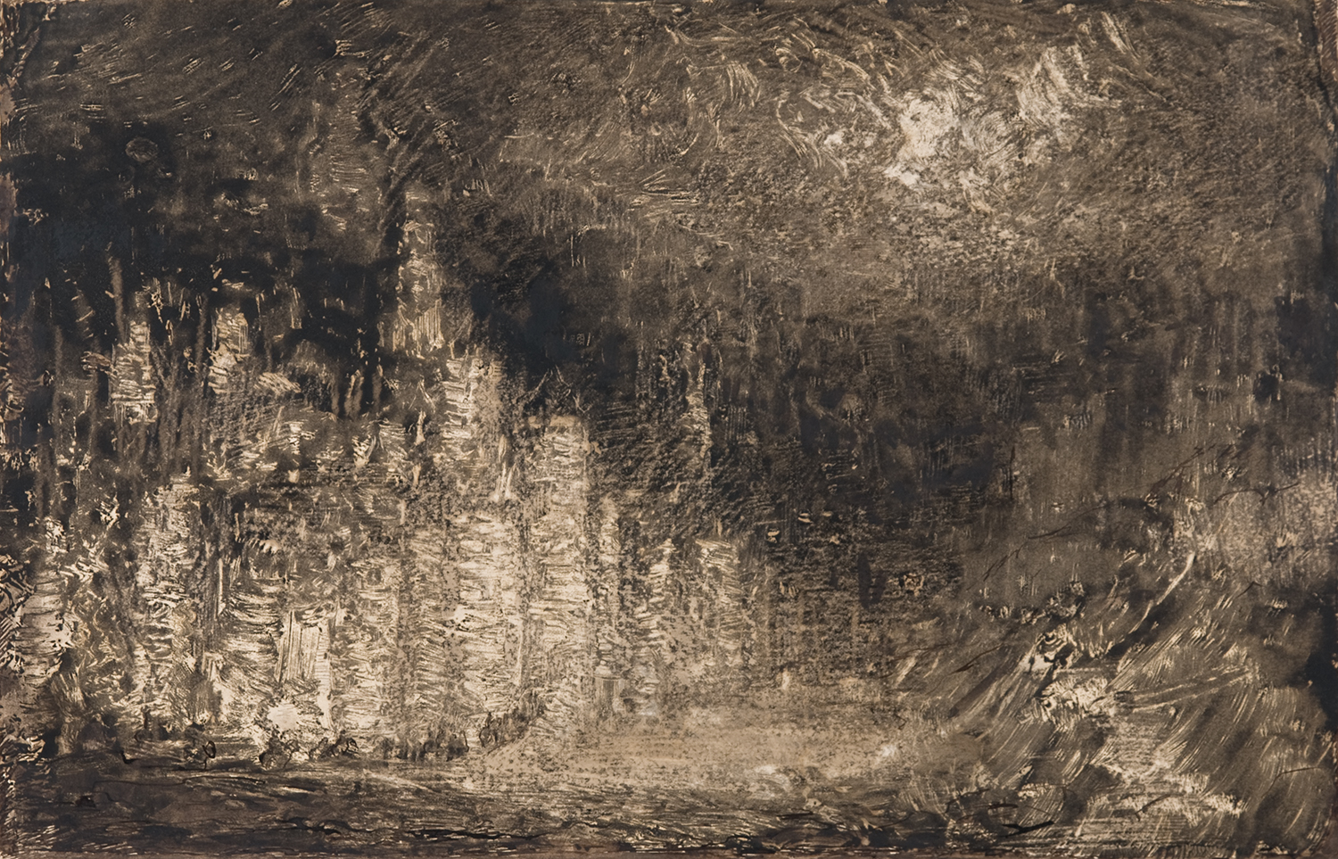"""Henri Marchal,French, 1878-1949, Nocturne,  c. 1917,monotype,9 x 14"""""""