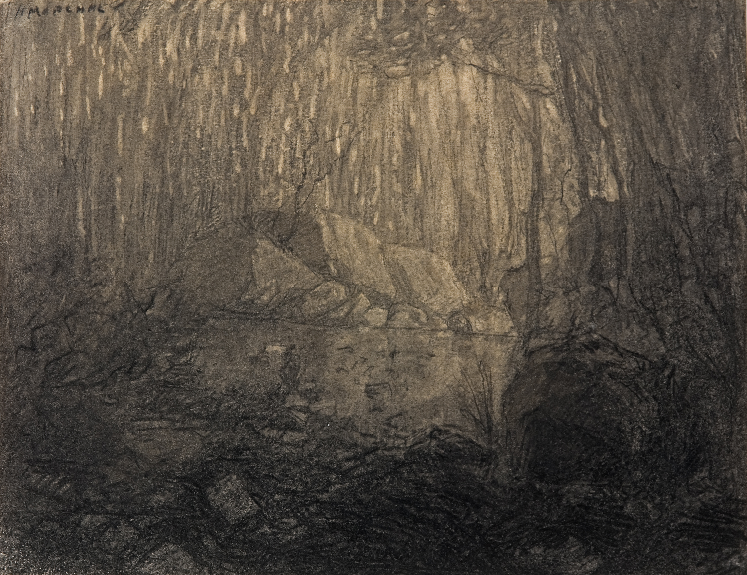 Henri Marchal, French, 1878-1949,  Dark Forest,   c.  1917, pencil, 8 3/4 x 11 1/4""