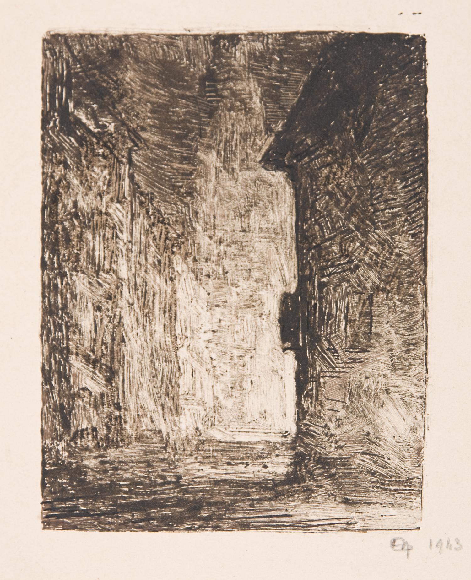 "Henri Marchal,French, 1878-1949, Street Scene, 1943,monotype,4 3/4 x 3 5/8"""