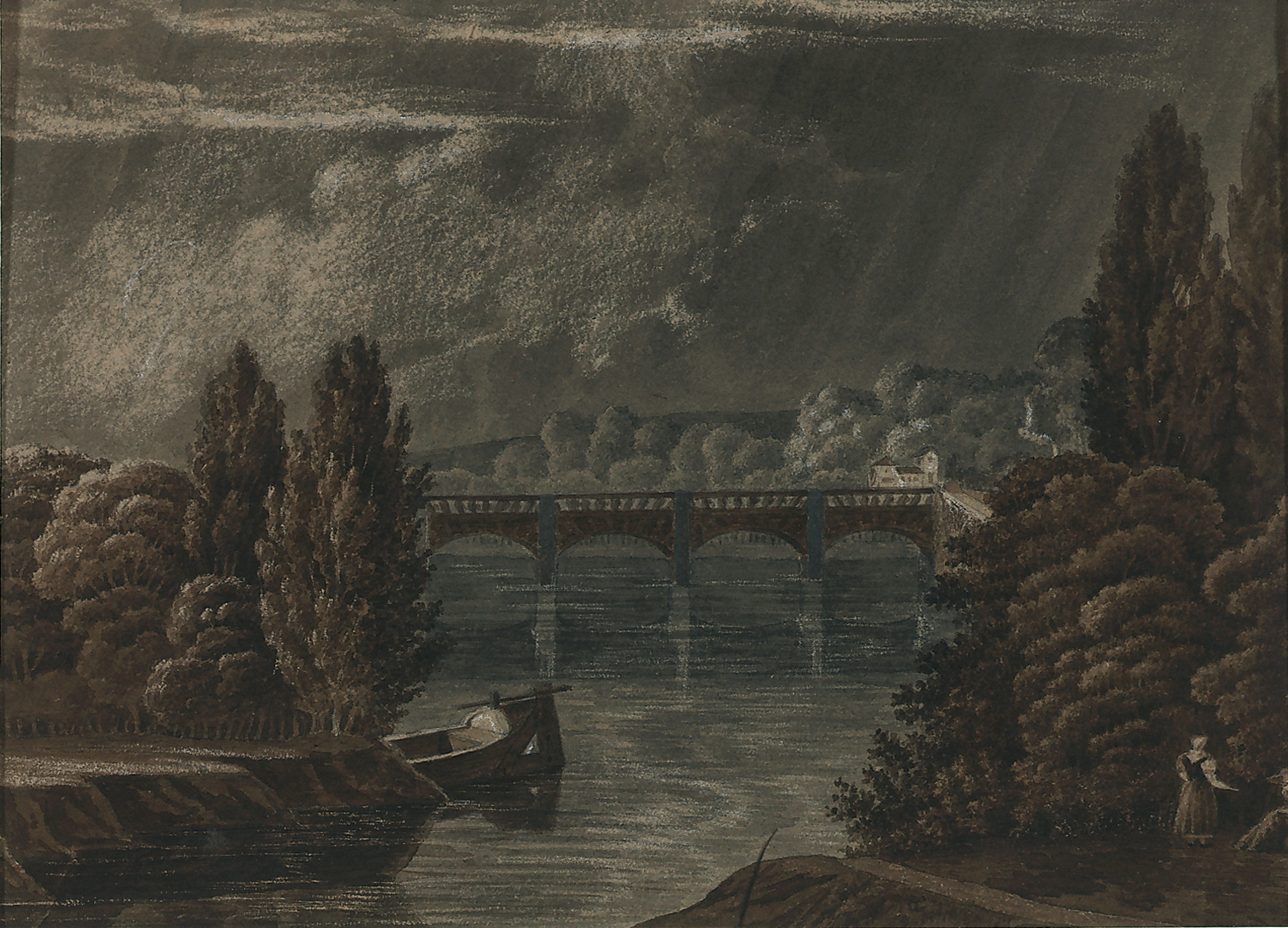 French, 19th c.,  Landscape with Bridge , ink and gouache, 7 3/8 x 9 3/4""