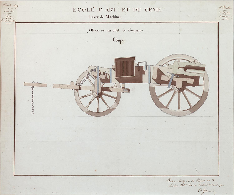 """C.Grosse for Ecole d'Art et du Genie, Lever de Machines, Canon Design:Obusier sur son affût de campagne: Coupe, pencil and watercolor on paper,18 5/8 x 23"""""""