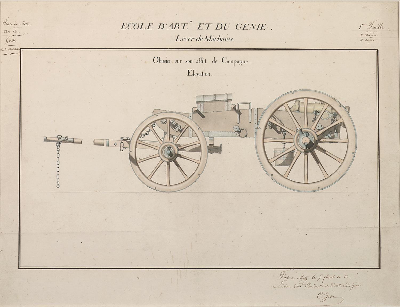 """C.Grosse for Ecole d'Art et du Genie, Lever de Machines, Canon Design:Obusier sur son affût de campagne: Elévation, pencil and watercolor on paper,18 5/8 x 23"""""""