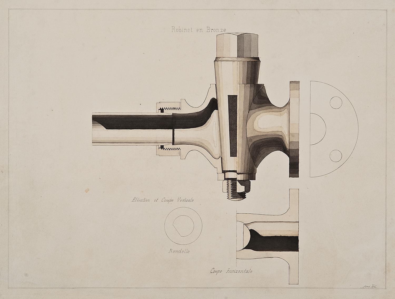 "Henri Puet (University of France), Robinet en Bronze - faucet design, 19th century, ink and watercolor on paper,19 1/8 x 25 1/4"""