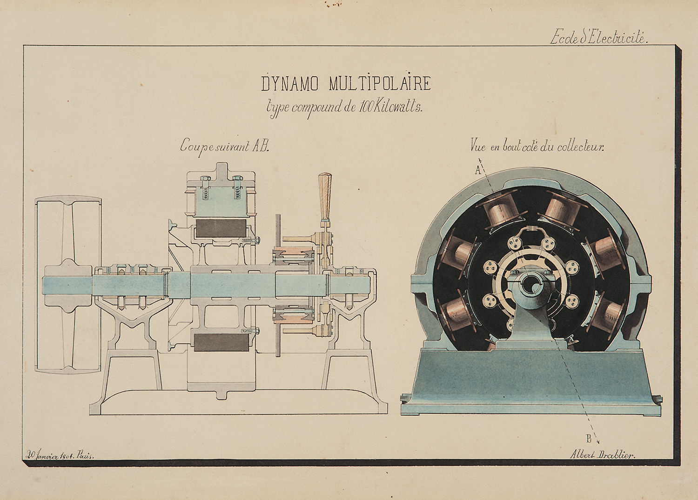 """Albert Drablier (Ecole d'Electricité, Paris), Dynamo Multipolaire, 1903, ink and watercolor on paper,12 3/4 x 18 1/2"""""""