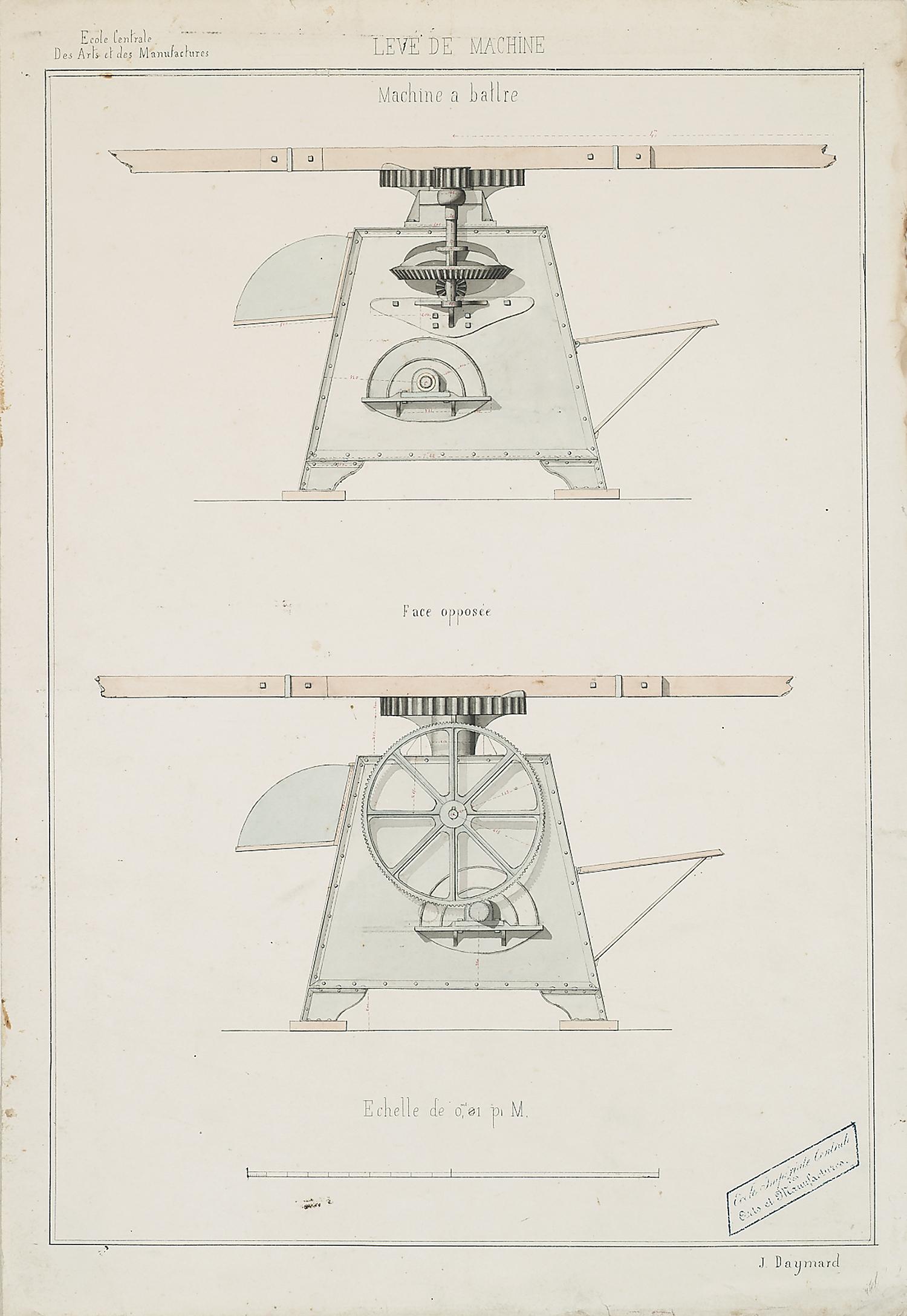 """J.Daymard,Ecole Centrale des Arts et des Manufactures, Leve de Machine: Machine a battre, ink and watercolor on paper,25 x 17 3/8"""""""