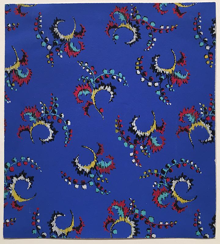 "French,  Textile Design , gouache on paper, 5 1/4 x 4 7/8"""