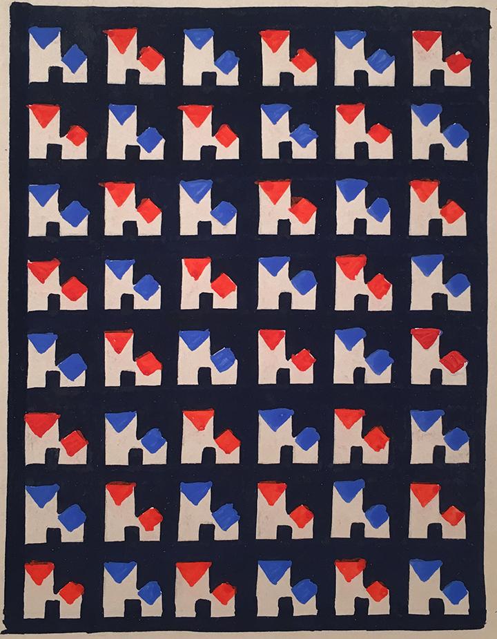 """Arthur Litt, Textile Design (Dessins Industriels 30307),  c. 1920-40, gouache on paper,4 3/4 x 3 1/2"""""""