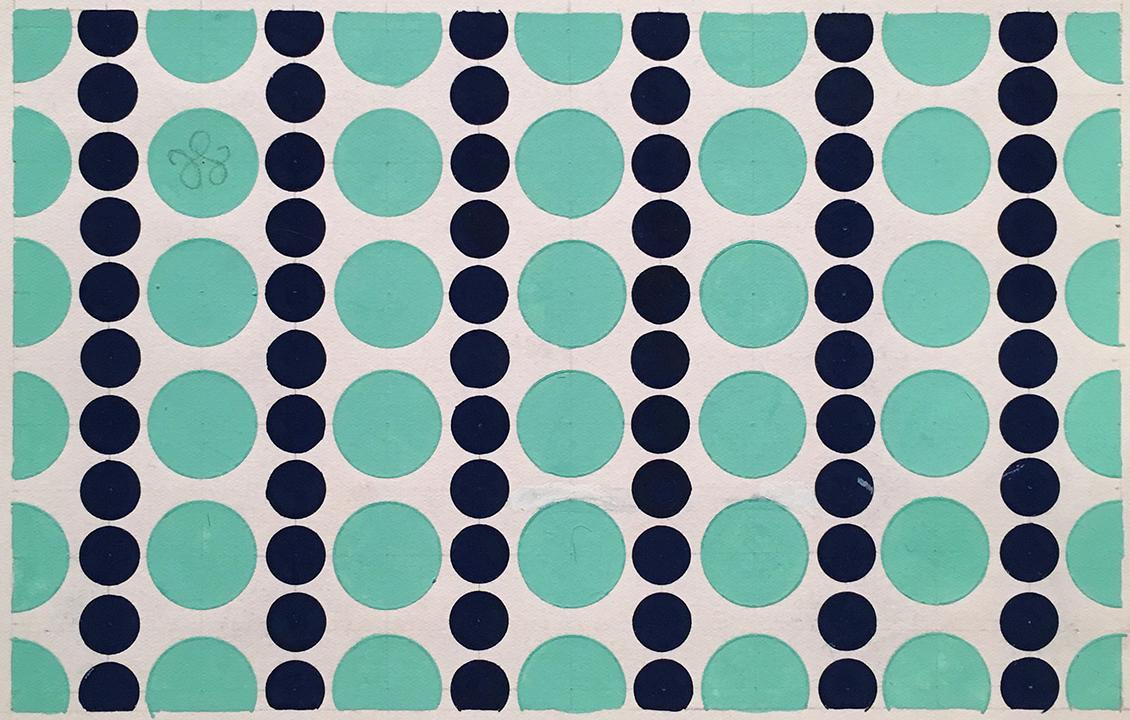 """Arthur Litt, Textile Design (Dessins Industriels 36626),  c. 1920-40, gouache on paper, 5 1/4 x 8 1/4"""""""
