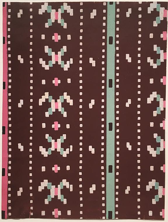 "French,  Textile Design , gouache on paper, 7 1/8 x 5 1/2"""