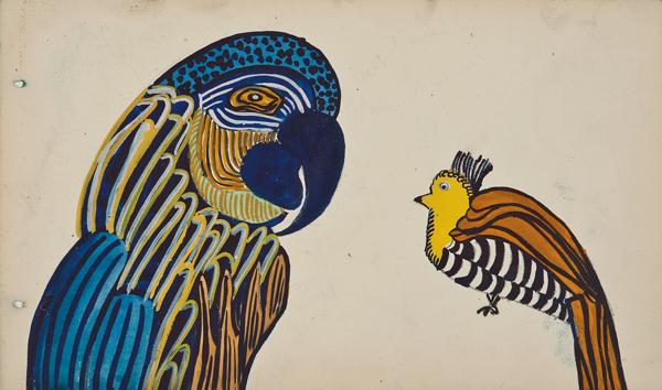 """Martine Le Course Pour Pour Maison Paul Poiret (1879-1944), France, Design Project: Parrot,  c. 1910,pencil and gouache on paper, 11 x 14 1/4"""" framed"""