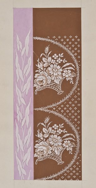"""Ecole Lyonnaise, late 19th century, Textile design, pink and brown with flower baskets ,gouache on paper, 11 1/8 x 4"""""""