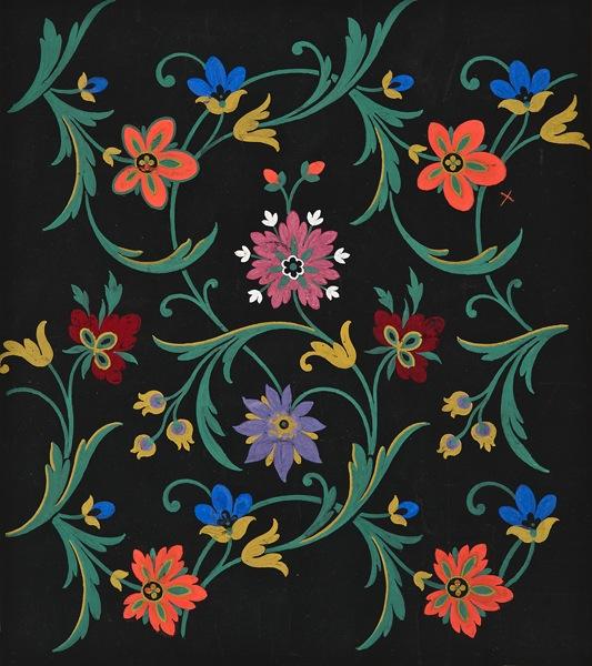 """École Lyonnaise, 19th century,  Floral Textile Design,  gouache on paper prepared with black ink, 14 7/8 x 13 1/4"""""""