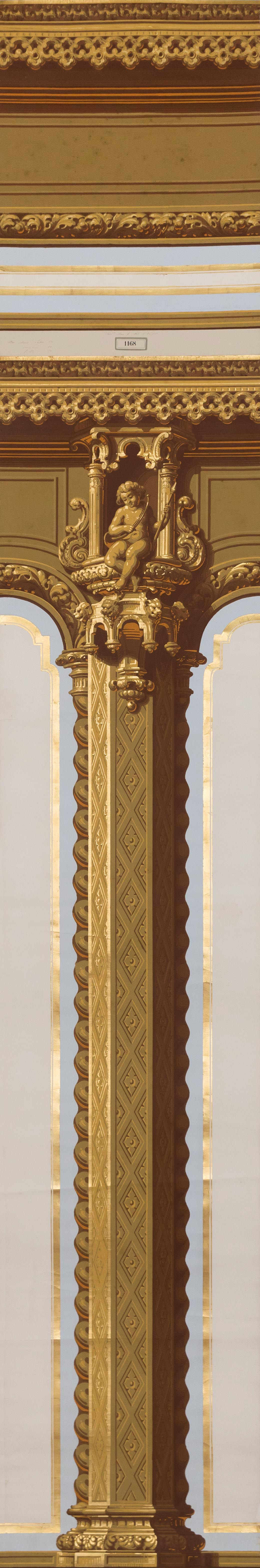 """Column Design , gouache and gold leaf on paper, 125 x 20 1/4"""""""