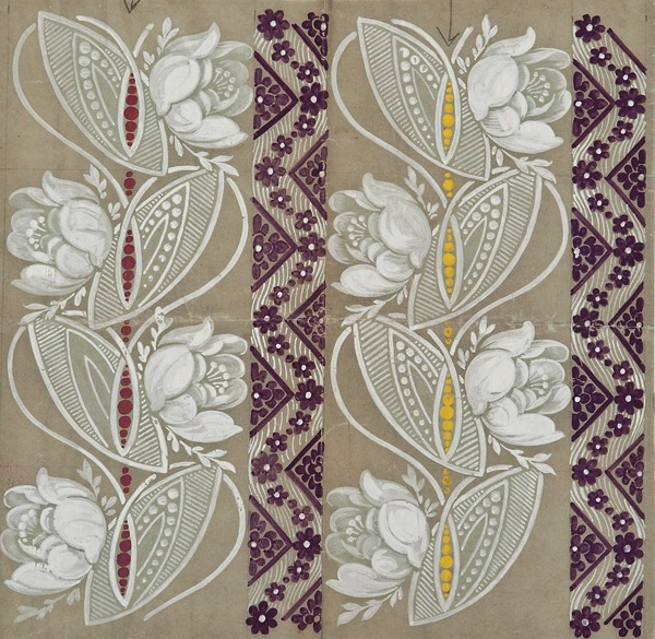 """Ecole Lyonnaise, c. 1900, Wallpaper or textile design with white flowers and purple stripes ,gouache on tracing paper, 10 1/4 x 10 1/4"""""""