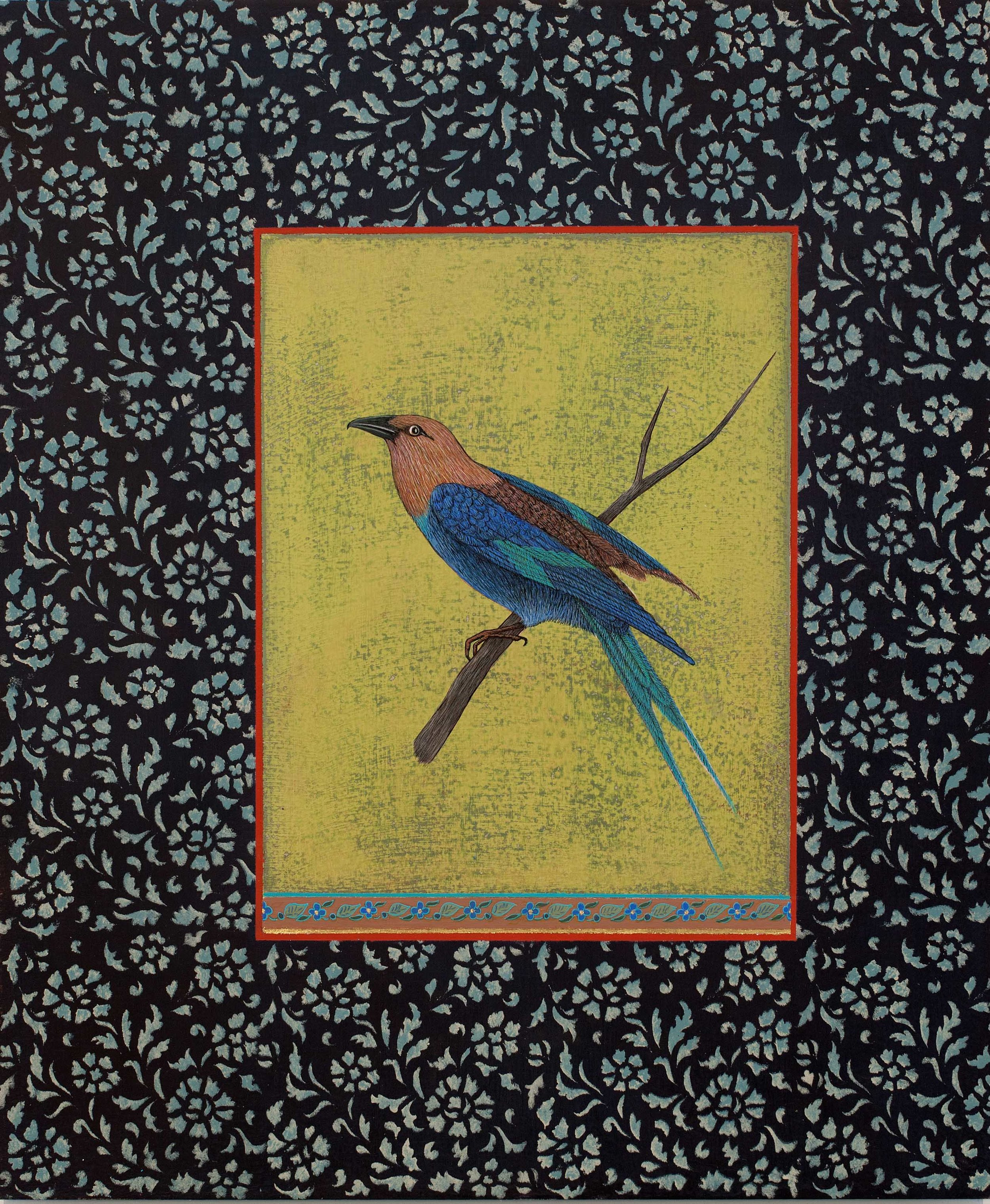 Antonia Munroe,  The Blue-bellied Roller,  2017 pigment dispersion on panel, 18 x 15""