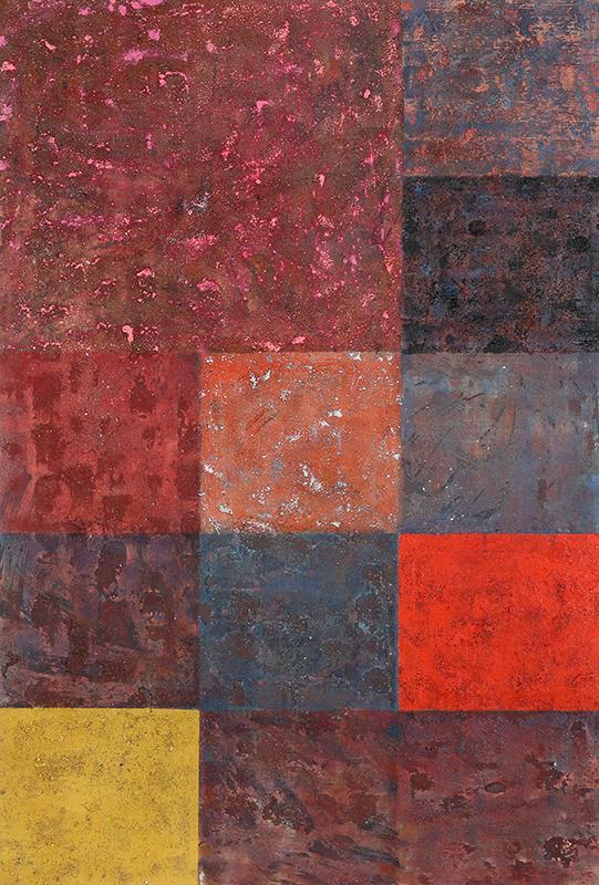 "Pat Adams,  Behold , 2004, mixed media on linen, 35 1/8 x 23 1/2"""