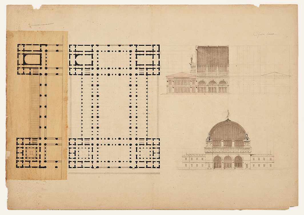 """Charles Arnaud (1847-1930),  Architectural drawing: Gare d'Orsay , c. 1900 pencil, ink and watercolor on paper, 20 x 30"""" matted"""