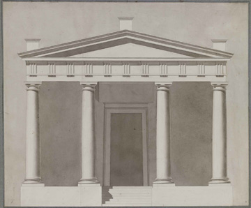 """Théodore Olivier (French, 1821-1899),  Study of a Temple Facade , c. 1840, ink and lavis (wash) on paper, 31 1/2 x 35 1/2"""" framed"""